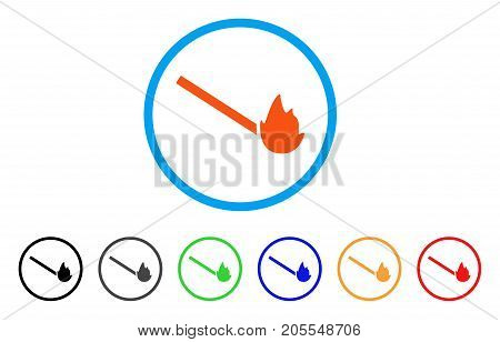 Match Flame rounded icon. Style is a flat match flame orange symbol inside light blue circle with black, gray, green, blue, red, orange variants. Vector designed for web and software interfaces.