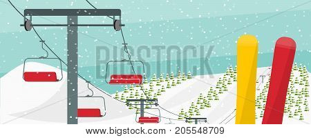 Winter ski resort conceptual vector illustration. Ski lift, snowboards, fir trees, hills, snow falling. Winter activities advertising flyer. Ski resort flyer concept.