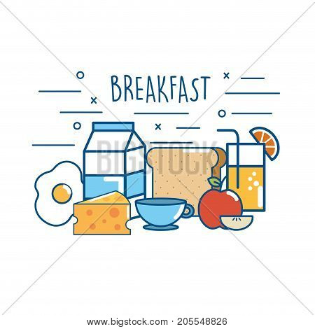 delicious breakfast food nutrition protein vector illustration