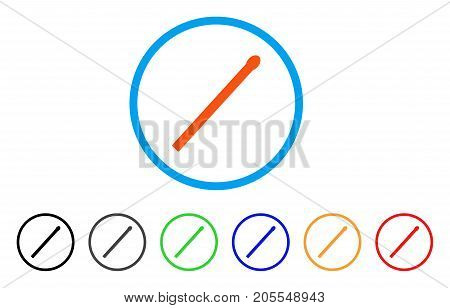 Match rounded icon. Style is a flat match orange symbol inside light blue circle with black, gray, green, blue, red, orange color versions. Vector designed for web and software interfaces.