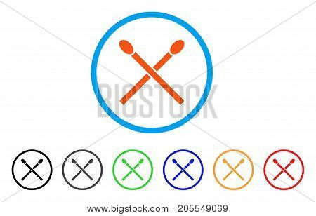 Matches rounded icon. Style is a flat matches orange symbol inside light blue circle with black, gray, green, blue, red, orange color versions. Vector designed for web and software interfaces.