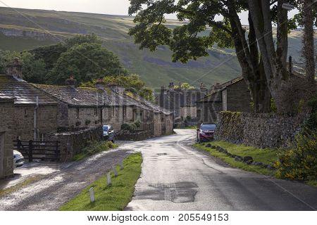 Cottages at Kettlewell village Yorkshire Dales National Park England.