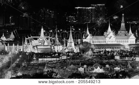 Fireworks On Father's Day At Emerald Buddha, Bangkok, Thailand