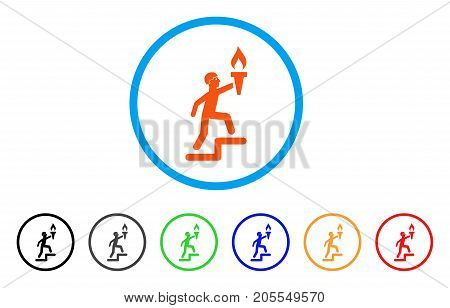 Soldier Climbing With Torch rounded icon. Style is a flat soldier climbing with torch orange symbol inside light blue circle with black, gray, green, blue, red, orange color versions.