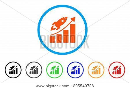 Startup Rocket Growth Chart rounded icon. Style is a flat startup rocket growth chart orange symbol inside light blue circle with black, gray, green, blue, red, orange color versions.