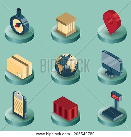 Logistics color isometric icons. Vector illustration, EPS 10