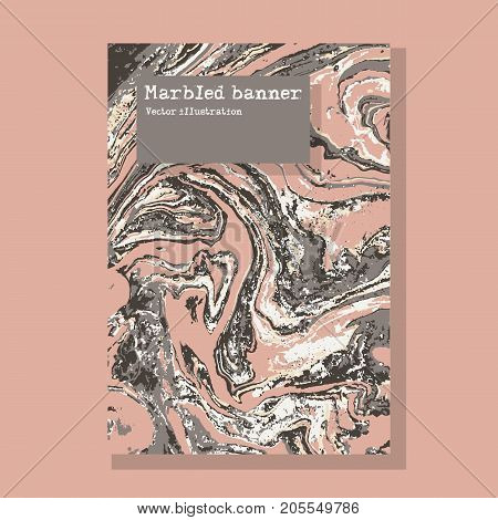 Marbled pink and gray abstract background. Liquid marble pattern. Vector fluid texture. Business template