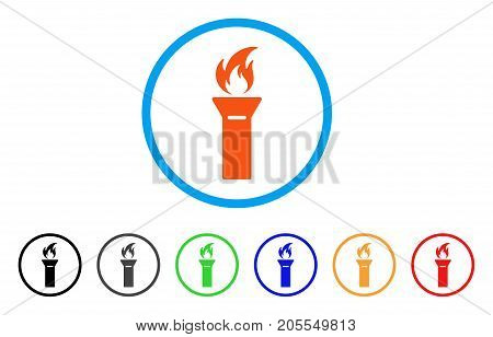 Torch Flame rounded icon. Style is a flat torch flame orange symbol inside light blue circle with black, gray, green, blue, red, orange color versions. Vector designed for web and software interfaces.
