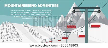 Ski resort, mountaineering adventure flat vector illustration. Swiss Alps, fir trees, snow hills winter background. Ski hills panoramic background, winter leisure activities.