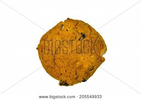 Oatmeal Raisin Cookie Isolated On White Background