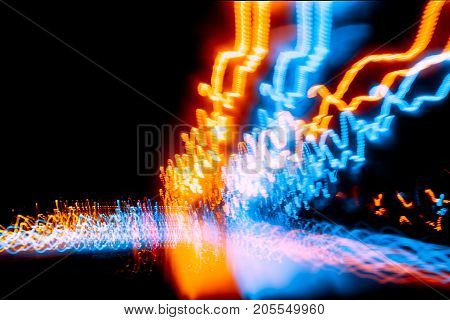 Blur Wave Light Trial Motion Night Road Driving Fast Speed Abstract Effect For Background