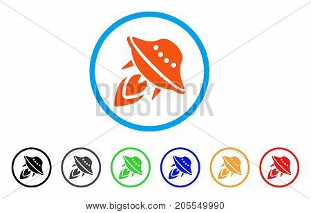 UFO Start rounded icon. Style is a flat ufo start orange symbol inside light blue circle with black, gray, green, blue, red, orange variants. Vector designed for web and software interfaces.