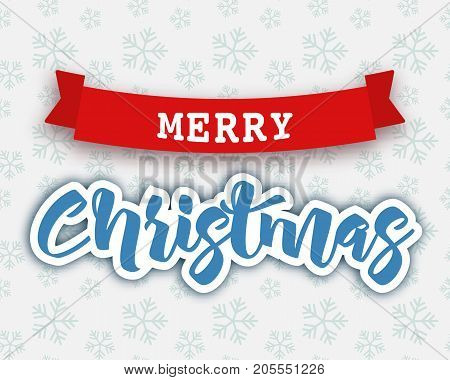 Merry Christmas hand drawn lettering on snowflakes pattern, vector illustration. Red decoration ribbon, graphic design elements. Merry Christmas banner, flyer, background. Merry Christmas winter card. Christmas background.