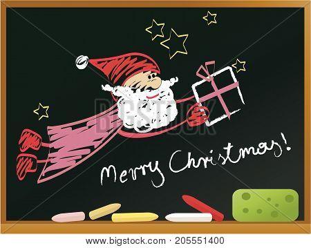 Christmas blackboard background with Santa Claus - vector illustration