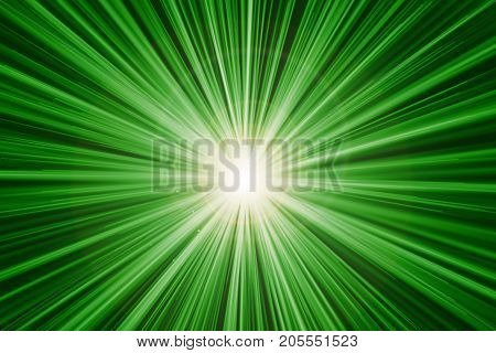 Green Fast Zoom Motion Speed Light Effect Abstract Background