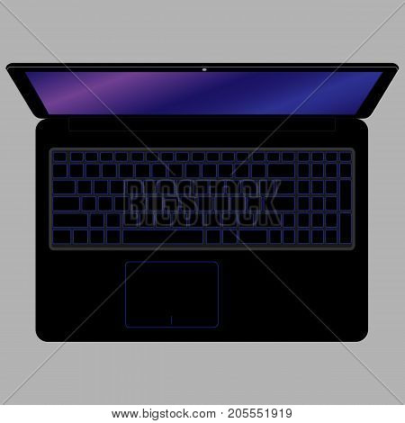 Laptop Computer, Black Color. Vector Illustration.