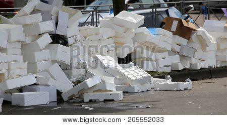 Polystyrene Boxes Thrown After The Market In A Square
