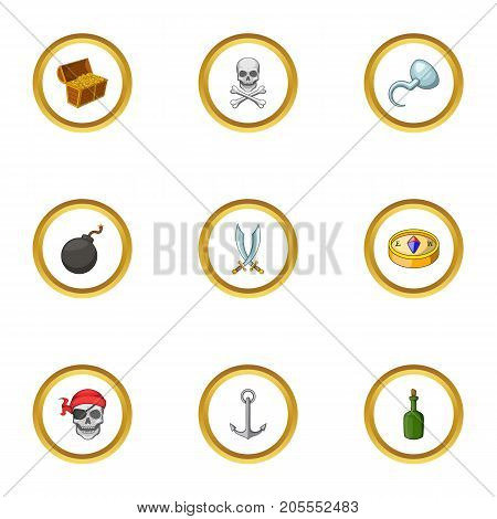 Sea journey icons set. cartoon style set of 9 sea journey vector icons for web design