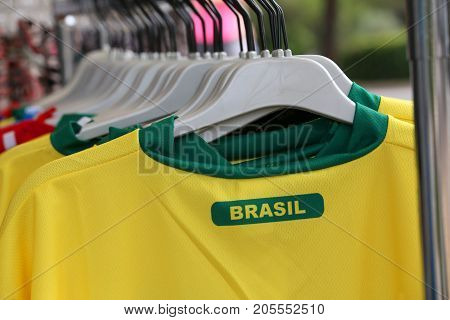 T-shirts With The Text Brasil Which Means Brazil For Sale In The