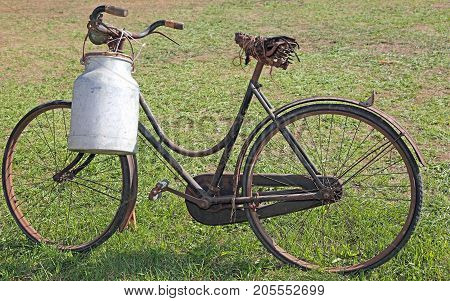 Very Old Milking Bicycle With Aluminum Milk Canister