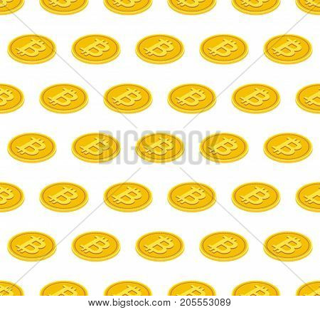 Bitcoin coins seamless pattern, vector illustration. Isometric golden coin, crypto money concept. Bitcoin flat elements, coins. Gold isometric coins seamless pattern.