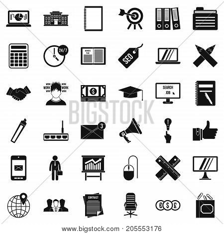 Finance icons set. Simple style of 36 finance vector icons for web isolated on white background