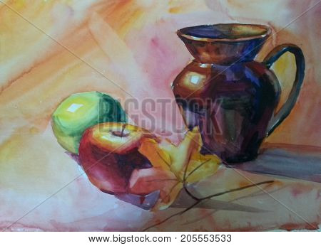 Still Life with Jug apple and maple leaf. Watercolor painting