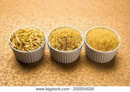 stock photo of Sev Namkeen Food Collection Aloo Sev also know as namkin and nimco a popular crisp savory snack made from mashed potatoes, chickpea flour and spices