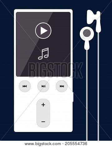White Mp3 Player With Headphones, Isolated On Dark Blue Background.