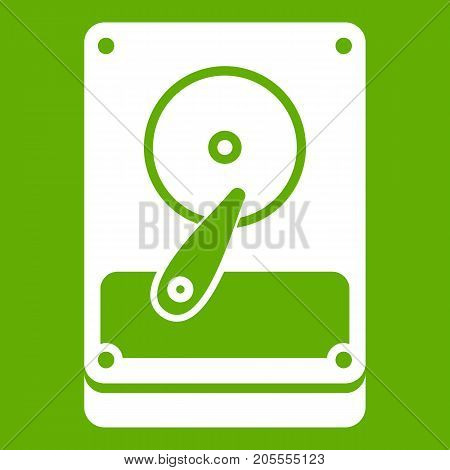 HDD icon white isolated on green background. Vector illustration