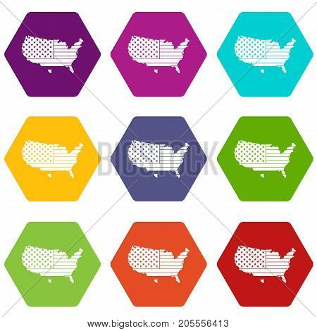 American map icon set many color hexahedron isolated on white vector illustration