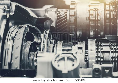Vehicle Car Gear Rotary Clutch Close-up Inside Engine