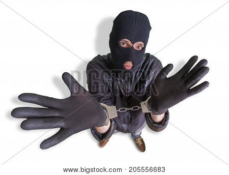 Thief Or Burglar With Handcuffs Is Arrested. View From Above. Is