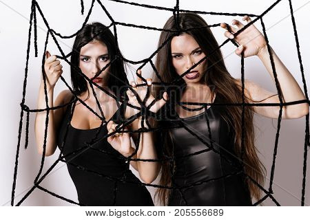 Two models in black tight dresses are posing with a black cobweb in their hands. They are looking sexually at the camera, standing against the white wall