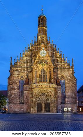 The Frauenkirche (Church of Our Lady) is a church in Nuremberg Germany. An example of brick Gothic architecture it was built between 1352 and 1362. Evening
