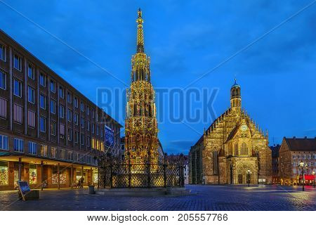 Schoner Brunnen (Beautiful fountain) is a 14th-century fountain located on Nuremberg's main market square Germany. Evening