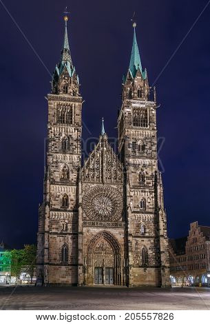 St. Lorenz is a medieval church in Nuremberg Germany. It is dedicated to Saint Lawrence. Facade in evening