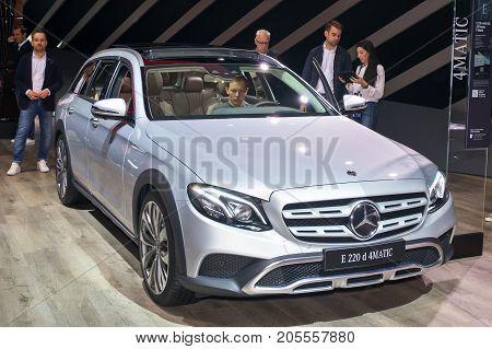 Frankfurt-September 20: Mercedes-Benz E 220 d 4 matic All-Terrain T-Model at the Frankfurt International Motor Show on September 20 2017 in Frankfurt