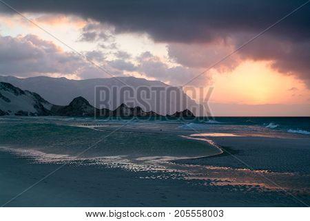 Sunset At The Beach Of Qalansiya, Yemen