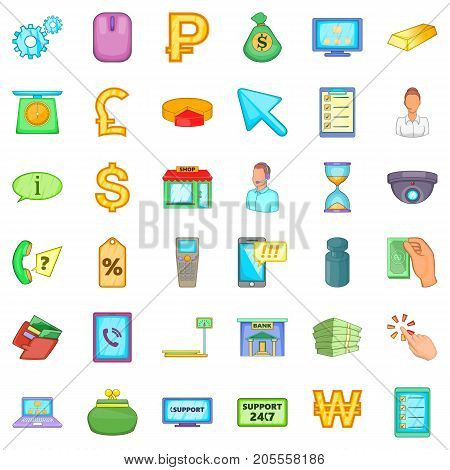 Finance icons set. Cartoon style of 36 finance vector icons for web isolated on white background