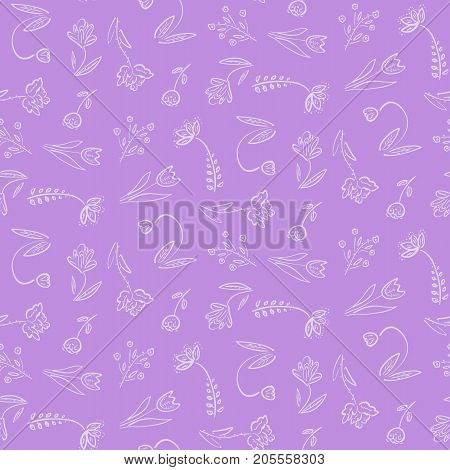Nice hand drawn ditsy flowers pattern on violet, cute soft pastel floral texture for textile, wrapping paper, wallpapers, covers, backgrounds