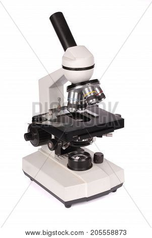 Monocular laboratory microscope isolated on white background with soft shadow