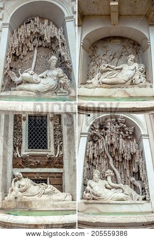 Four Fountains from Renaissance in Rome, Italy. Quirinale road and XX Settembre crossroad. figures representing rivers Tevere e Arno, and goddess Juno and Diana