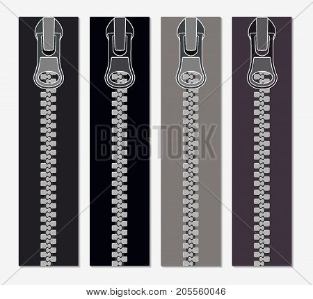 Set Of Zippers For Clothes, Vector Illustration Of Zippers In Gray Colors, Realistic, Closeup.
