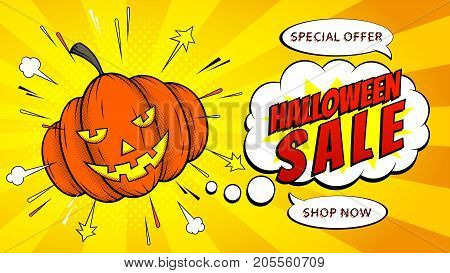 Halloween Sale Web Banner with Pumpkin. Holiday yellow Card with Seasonal Offer. Vector Illustration in Pop Art Style.