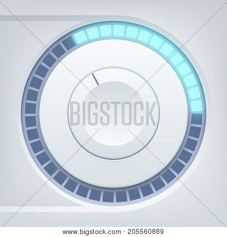 Music interface template with round tumbler and sound scale on light background isolated vector illustration