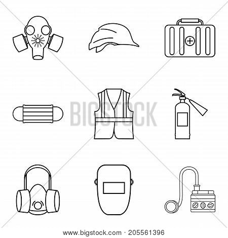 Chemical protection icons set. Outline set of 9 chemical protection vector icons for web isolated on white background