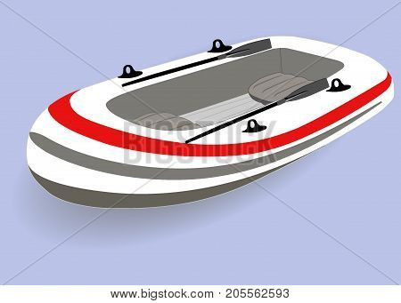 Inflatable Boat With Oars, Isolated. Vector Illustration.