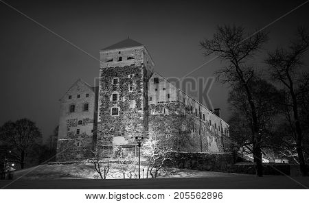 Black And White Photo Of Turku Castle At Night