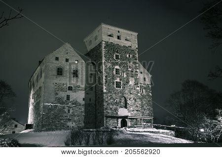 Night View Of Turku Castle In Winter Season